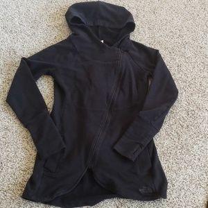 North Face Hooded Black Wrap Jacket w/ Thumb Holes